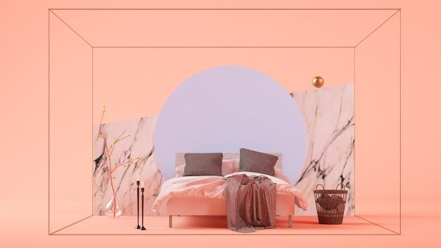 Surrealistische slaapkamer scène 3d-rendering