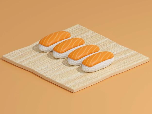Sushi en broodjes op een houten snijplank met japanse eetstokjes op achtergrond 3d-rendering