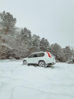 Suv-auto in het midden van besneeuwde boskopieerruimte