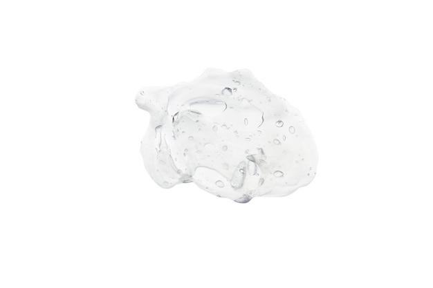 Swatch textuur van witte doorschijnende crème met bubbels geïsoleerd op een witte achtergrond