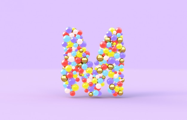 Sweet candy balls letter m