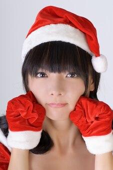 Sweet christmas meisje van aziatische, close-up portret.