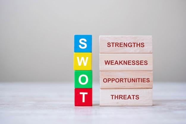 Swot-tekst houten kubus met blokken krachten, zwakte, kansen en bedreigingen op tabelachtergrond