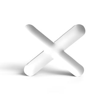 Symbool afgewezen teken. schrijf kruis geen of verkeerde concepten op het wit. geïsoleerd. geweigerd tekenpictogram. driedimensionale weergave, 3d-weergave.