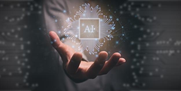 Symbool elektronische chip ai moderne informatietechnologie illustratie