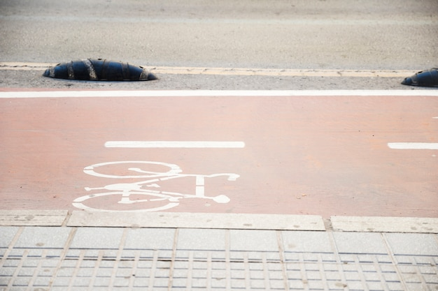 Symbool om de weg voor fiets aan te geven