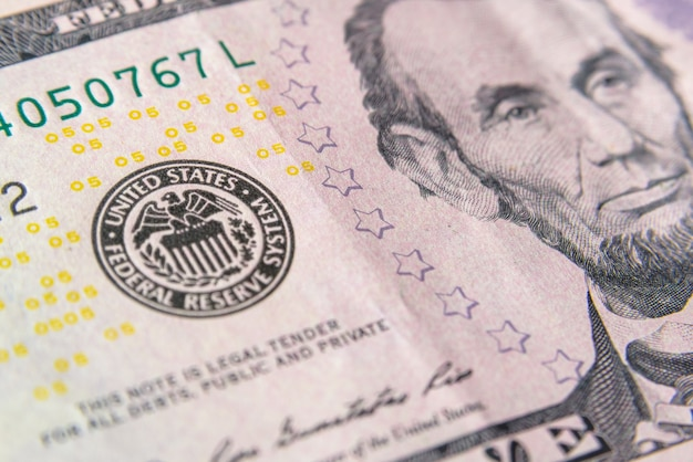 Symbool (stempel) van het federale reservesysteem van de vs op dollar. financiën systeemconcept