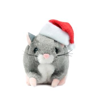 Symbool van de rat van 2020 op een witte geïsoleerde achtergrond in een kerstmuts