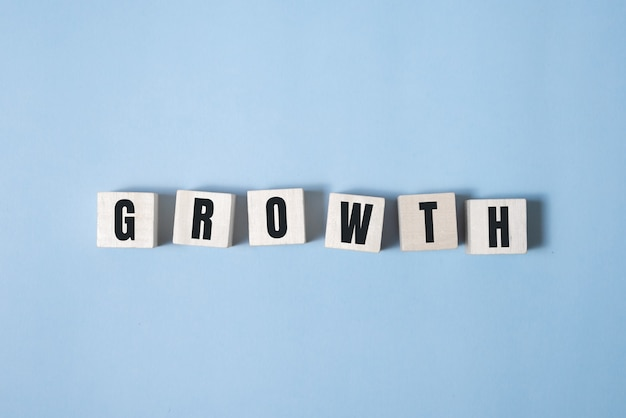 Symbool van groei. een houten kubus en verandert woorden groei.