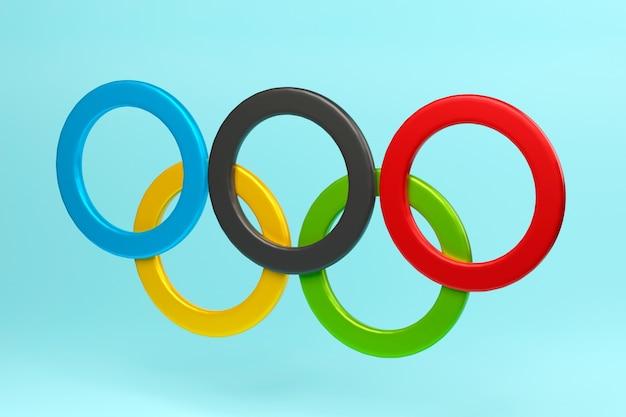 Symbool van olympische spelen olympische ringen 3d illustratie