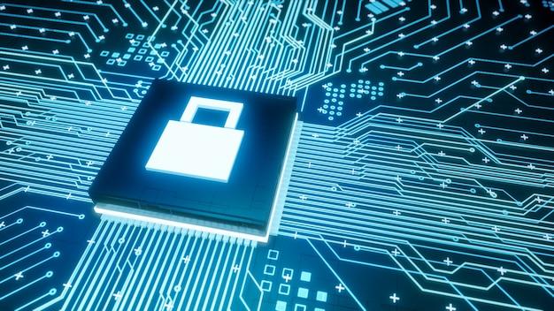 Symboolmicrochip volledig vergrendelen op moederbordcircuit in computerhardware, 3d-rendering digitale gegevensbescherming en cyberbeveiliging bedrijfsconcept achtergrond