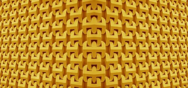Symmetrie afnemend perspectief 3d architecturale lijnen en vormen in mangogele kleur