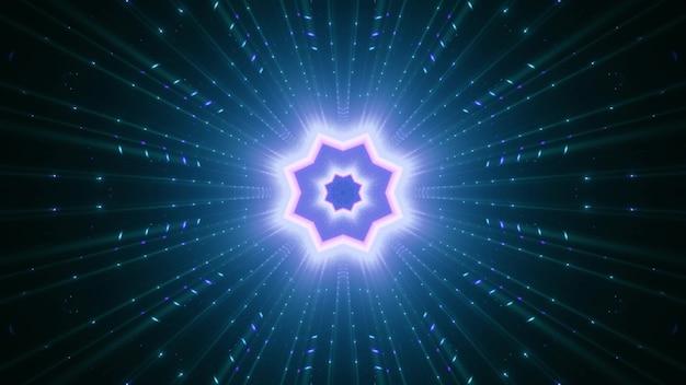 Symmetrisch stervormig ornament met stralen die met blauw neonlicht gloeien