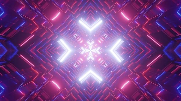 Symmetrische 3d-afbeelding van felroze en blauwe neonlijnen die gloeien en tunnel met abstract ornament vormen