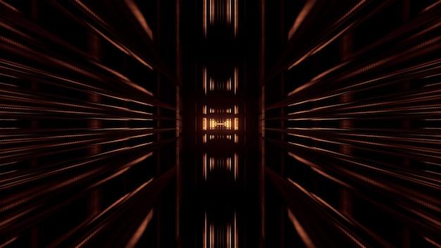 Symmetrische abstracte 3d illustratie van lange geometrische vormen die een gang op zwarte achtergrond vormen