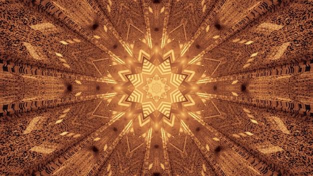 Symmetrische abstracte tunnel met stervormig ornament en vervormde muren die gloeien met gouden neonlicht 4k uhd 3d-afbeelding
