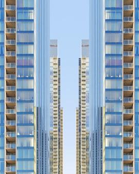 Symmetrische glazen gebouwen in het centrum van montreal