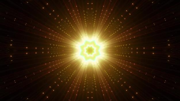 Symmetrische gouden ster met levendige stralen die schitteren met neonlicht