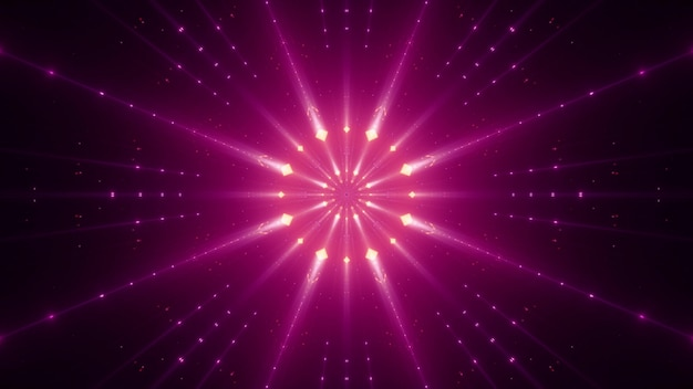 Symmetrische levendige roze stralen die schijnen met neonlicht en de duisternis verlichten
