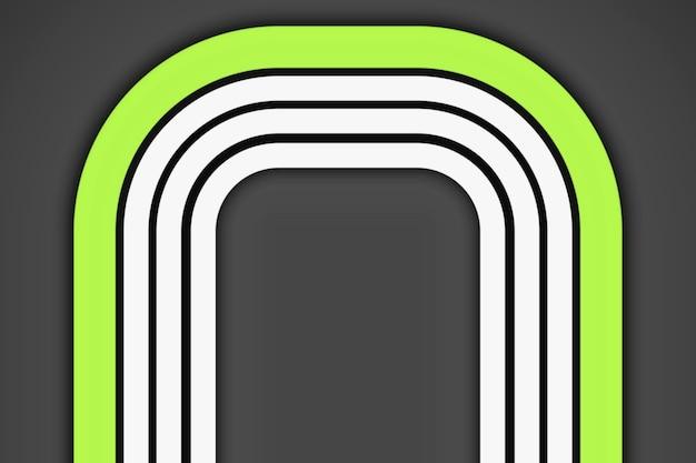 Symmetrische witte en groene strepen op een grijze achtergrond, ruimte voor tekst. driedimensionaal beeld