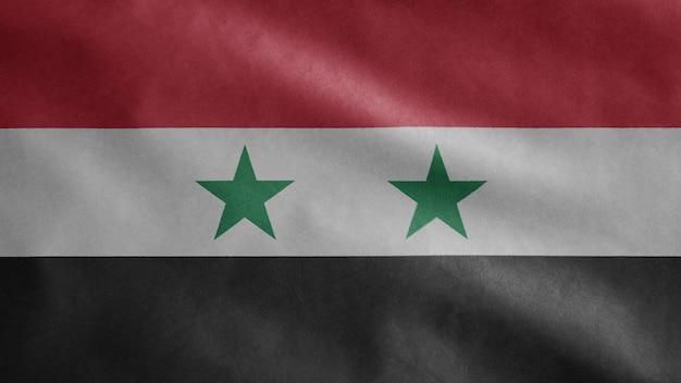 Syrische vlag wappert in de wind. close-up van syrië sjabloon blazen, zachte en gladde zijde.