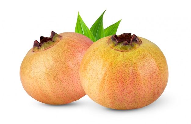 Syzygium jambos of djamboevrucht op wit