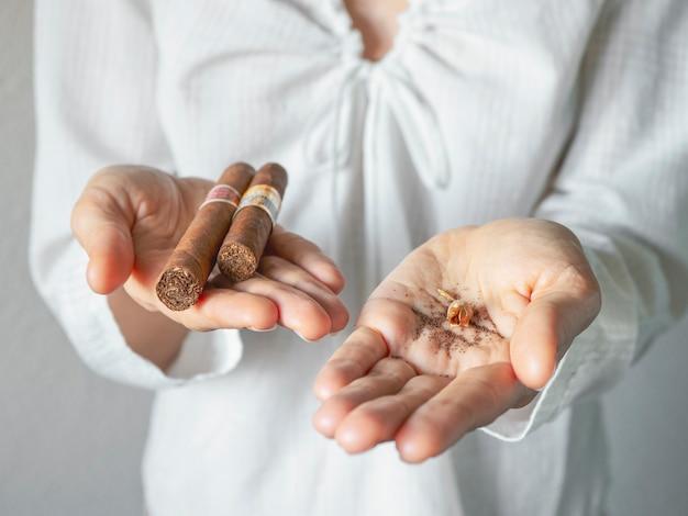 Tabakszaadjes en een sigaar in de palm van je hand. Premium Foto