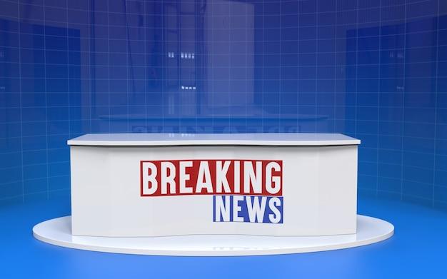 Tabel en breaking news banner achtergrond in de nieuwsstudio