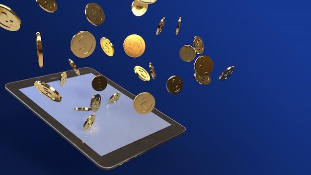 Tablet en gouden munten 3d-rendering voor zakelijke inhoud.