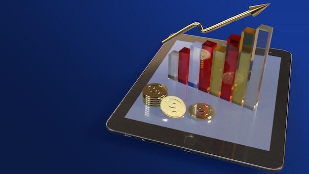 Tablet en grafiek 3d-rendering voor zakelijke inhoud.