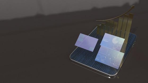 Tablet- en schermgrafiek voor bedrijven