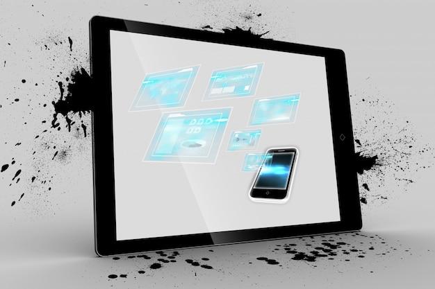 Tablet met een smartphone