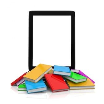 Tablet pc bovenop een stapel boeken