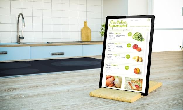 Tabletpc met online supermarkt op het scherm op kookeiland bij het 3d teruggeven van de keuken