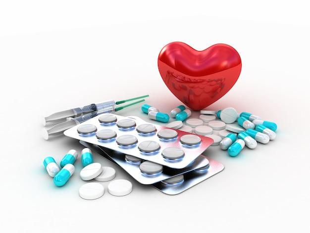 Tabletten medisch met rood hart. 3d illustratie