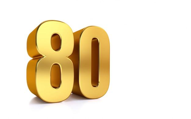 Tachtig, 3d illustratie gouden nummer 80 op witte achtergrond en kopieer de ruimte aan de rechterkant voor tekst, het beste voor verjaardag, verjaardag, nieuwe jaarviering.