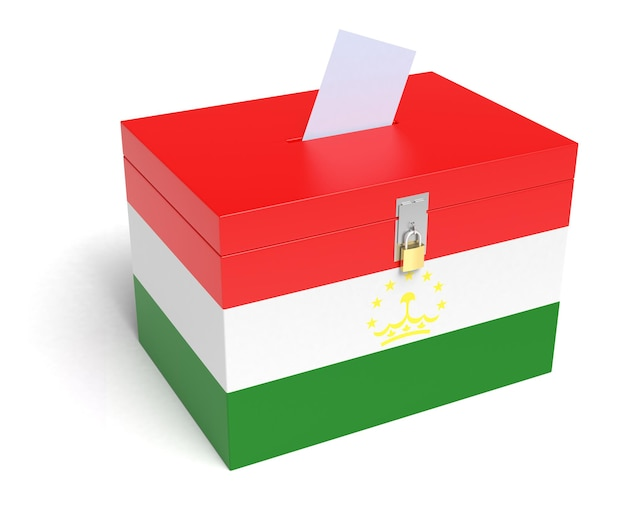 Tadzjiekse vlag stembus. geïsoleerde witte achtergrond. 3d-weergave.