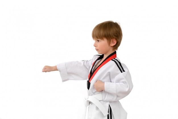 Taekwondo-jongen leert slaan
