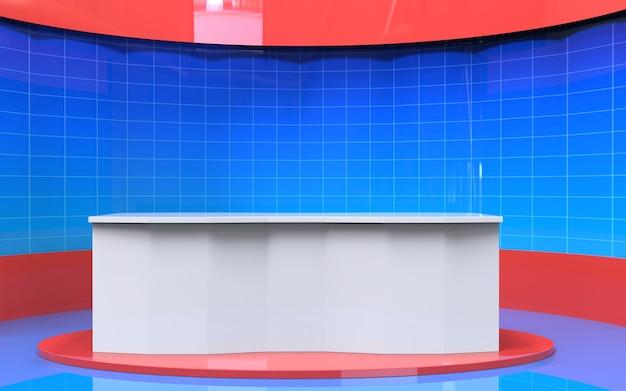Tafel en brekend nieuws banner achtergrond in de nieuws studio