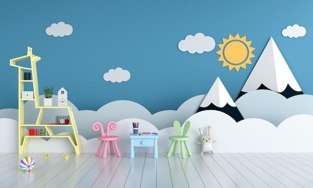 Tafel en stoel in blauwe kinderkamer voor mockup