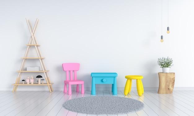 Tafel en stoel in witte kinderkamer
