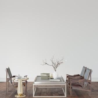Tafel en stoelen in een kamer op de houten vloer