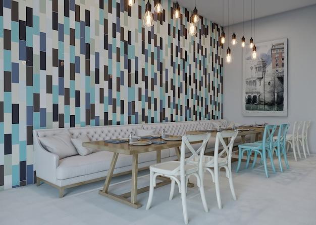 Tafel en stoelen in een restaurant met keramische wanddecoratie