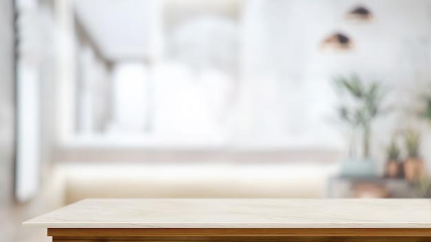 Tafel met wazige woonkamerachtergrond met kopieerruimte