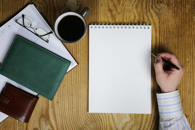 Tafel schrijven hand kantoor weergave