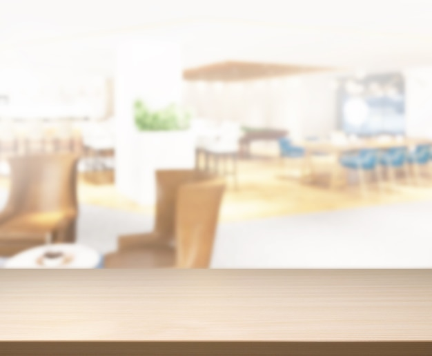 Tafelblad en blur restaurant van achtergrond