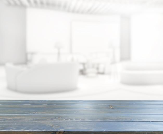 Tafelblad en vervagen woonkamer van achtergrond