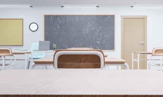 Tafelblad in een schoolklaslokaal met bord op de achtergrond. concept van onderwijs en terug naar school. 3d-rendering