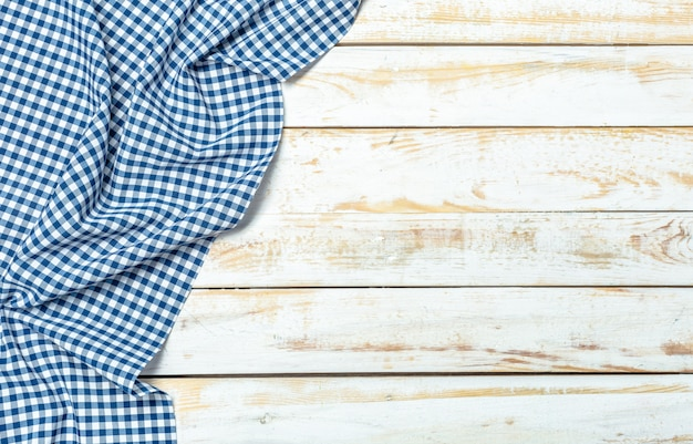 Tafelkleedtextiel op houten