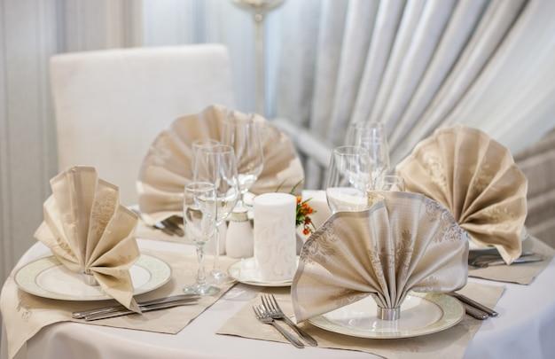 Tafelset voor bruiloft of een ander verzorgd diner